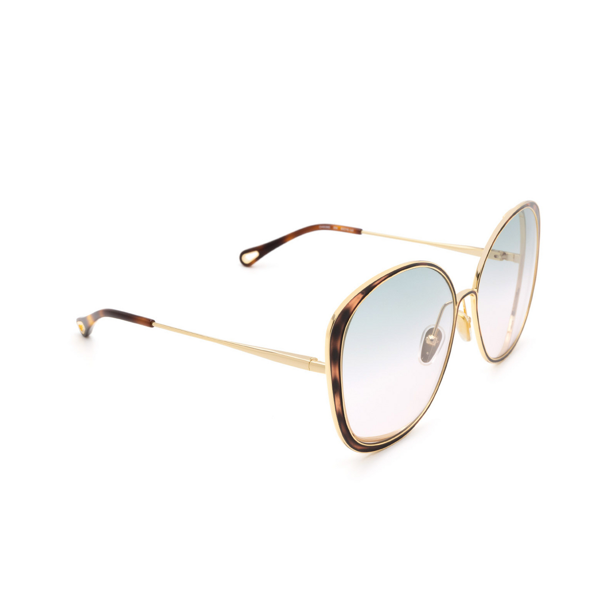 Chloé ® Cat-eye Sunglasses: CH0036S color Gold & Havana 004.