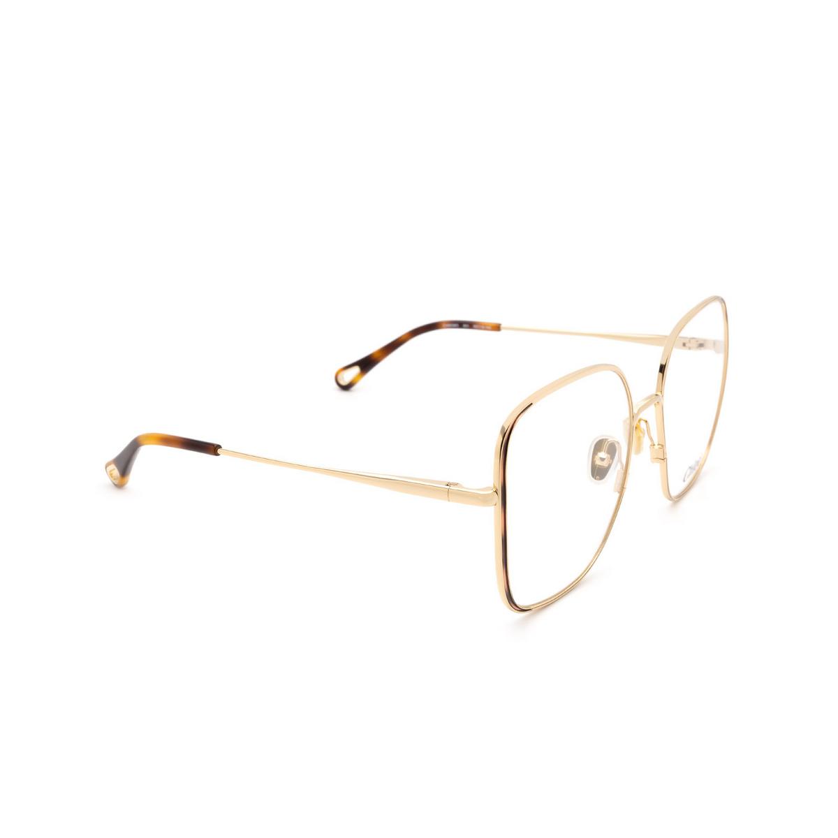 Chloé® Square Eyeglasses: CH0038O color Gold & Havana 001 - three-quarters view.
