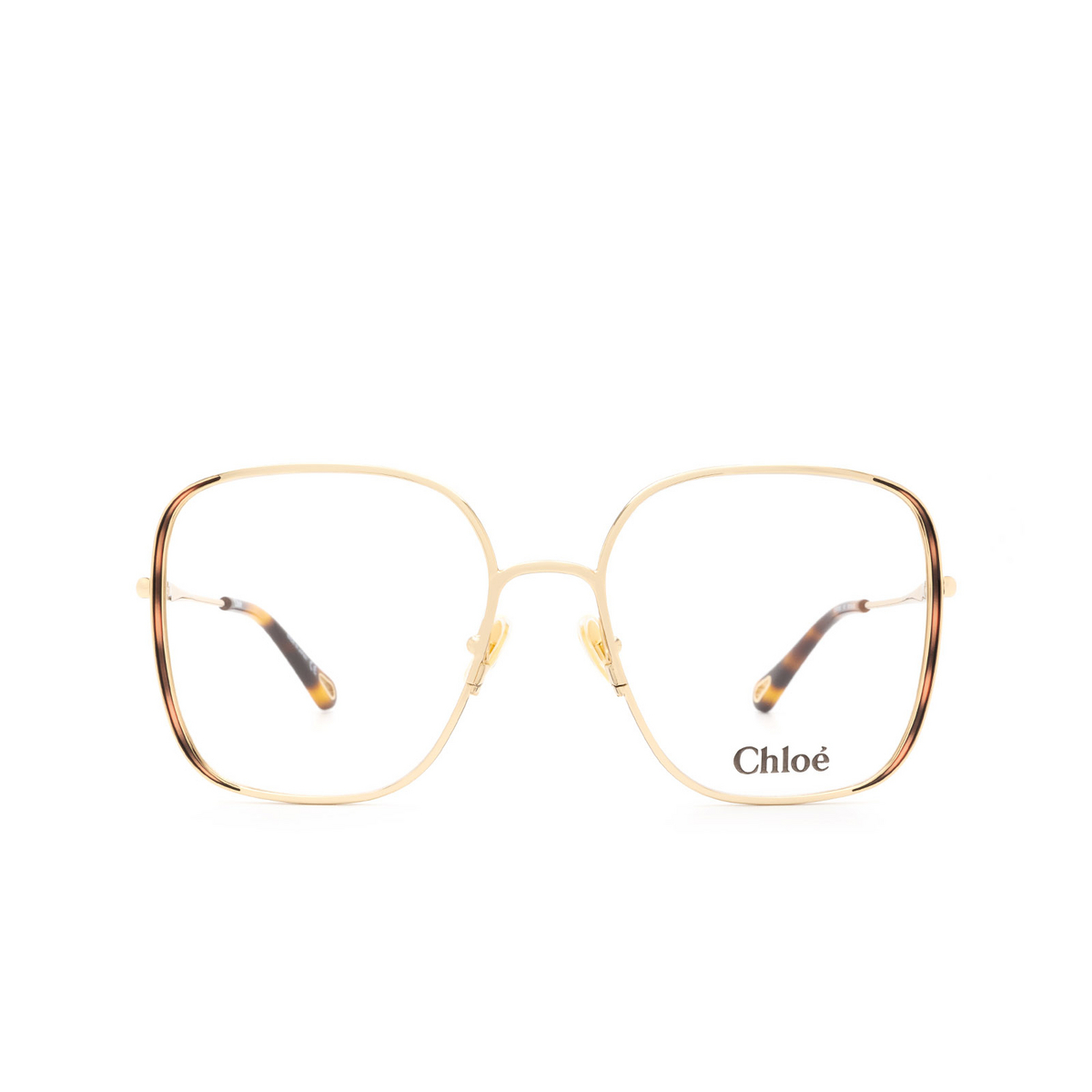 Chloé® Square Eyeglasses: CH0038O color Gold & Havana 001 - front view.
