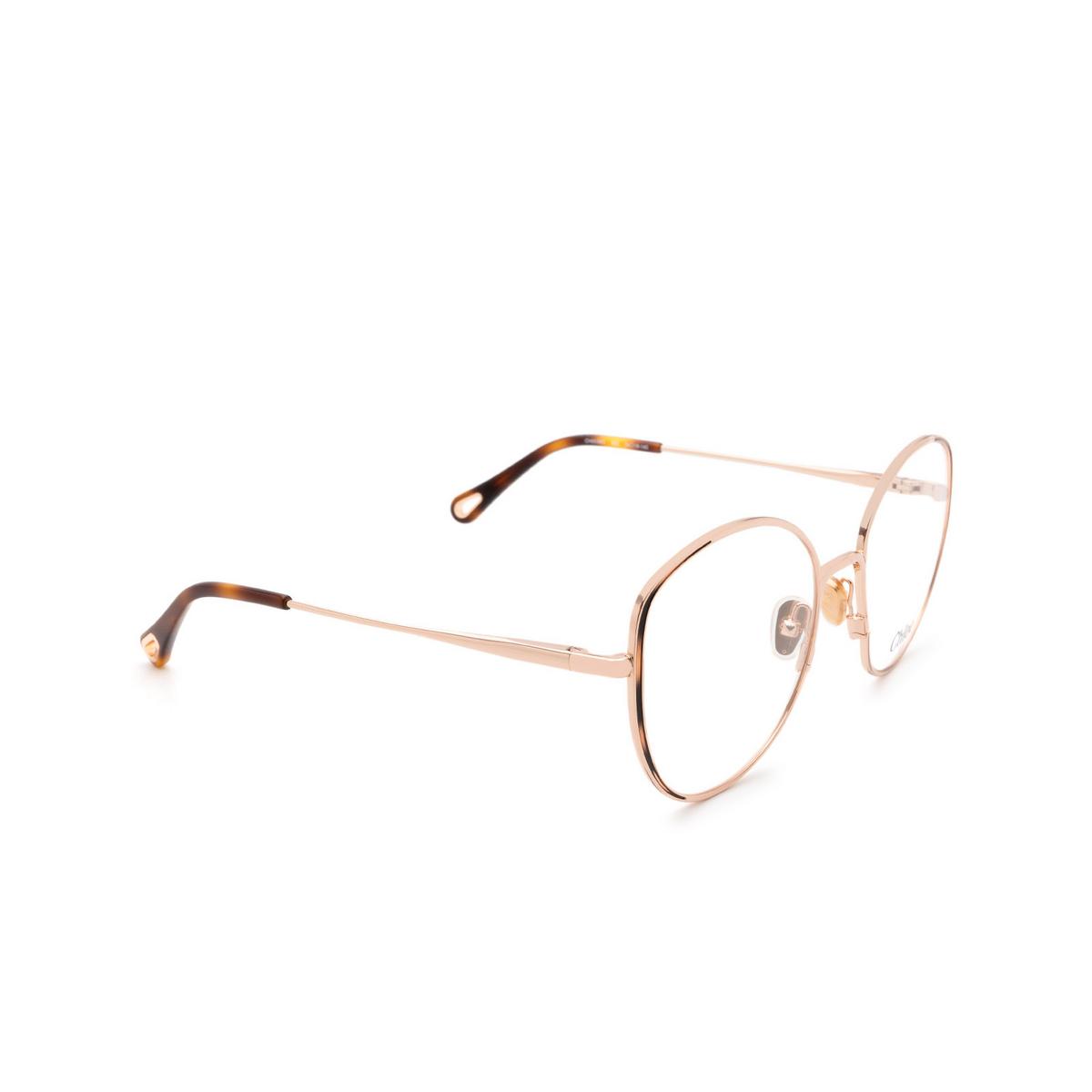 Chloé ® Butterfly Eyeglasses: CH0039O color Rose Gold & Havana 002.