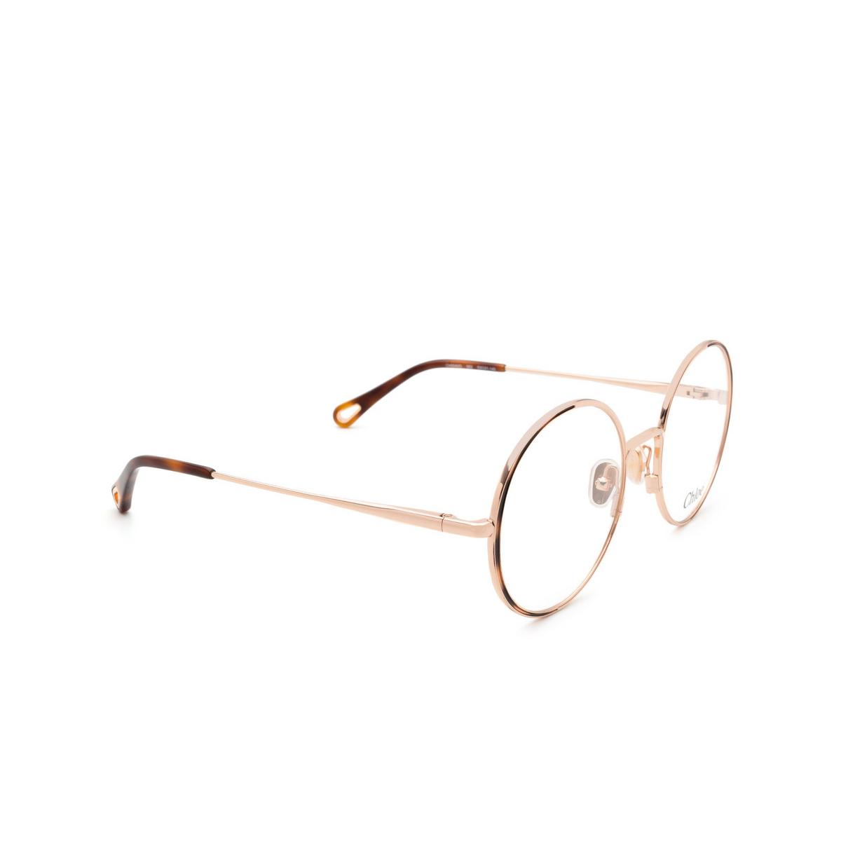 Chloé® Round Eyeglasses: CH0040O color Rose Gold & Havana 002 - three-quarters view.