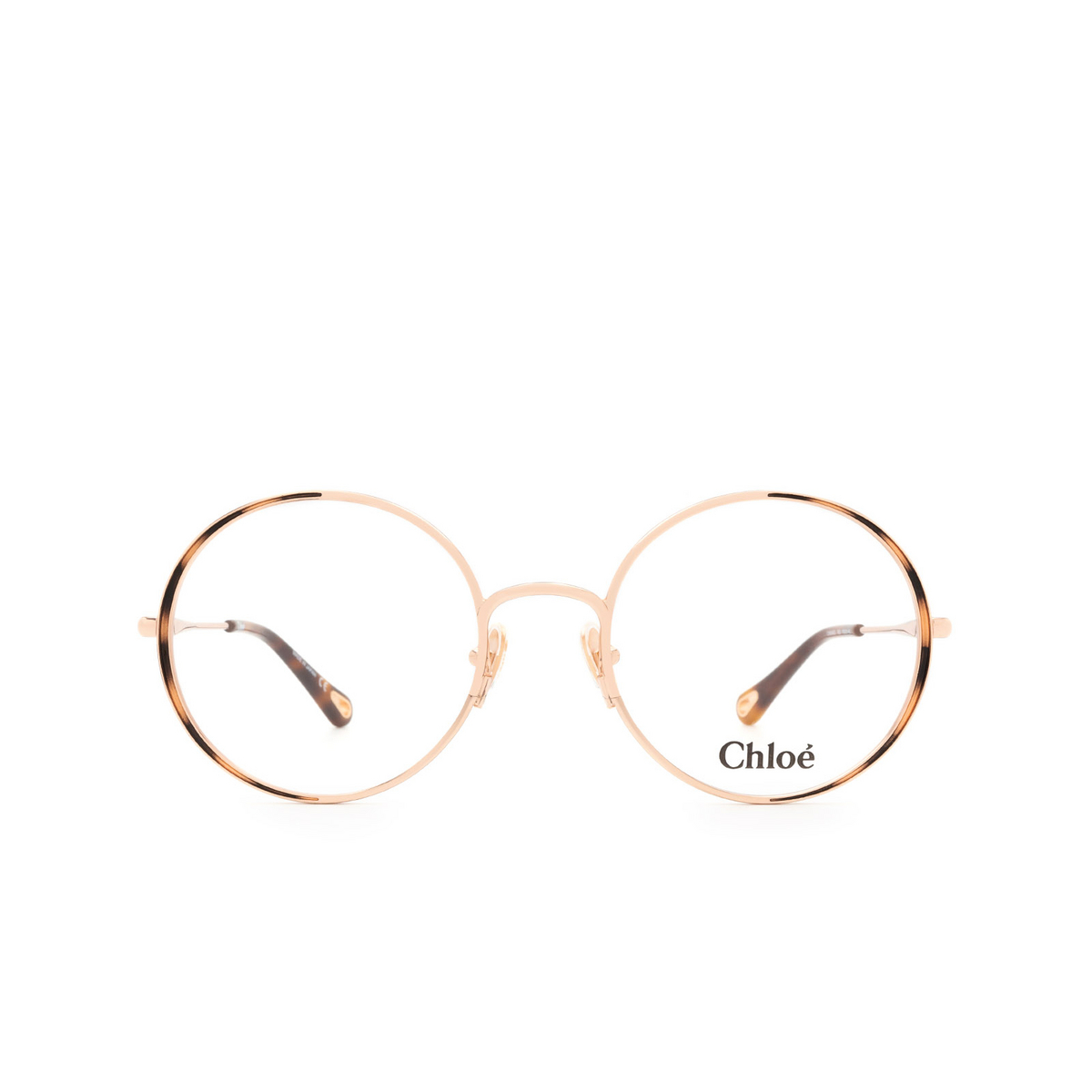 Chloé® Round Eyeglasses: CH0040O color Rose Gold & Havana 002 - front view.