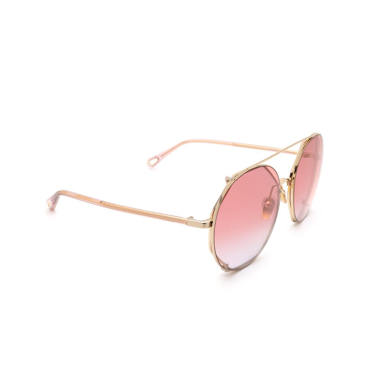 Chloé ® Round Sunglasses: CH0041S color Gold 004.