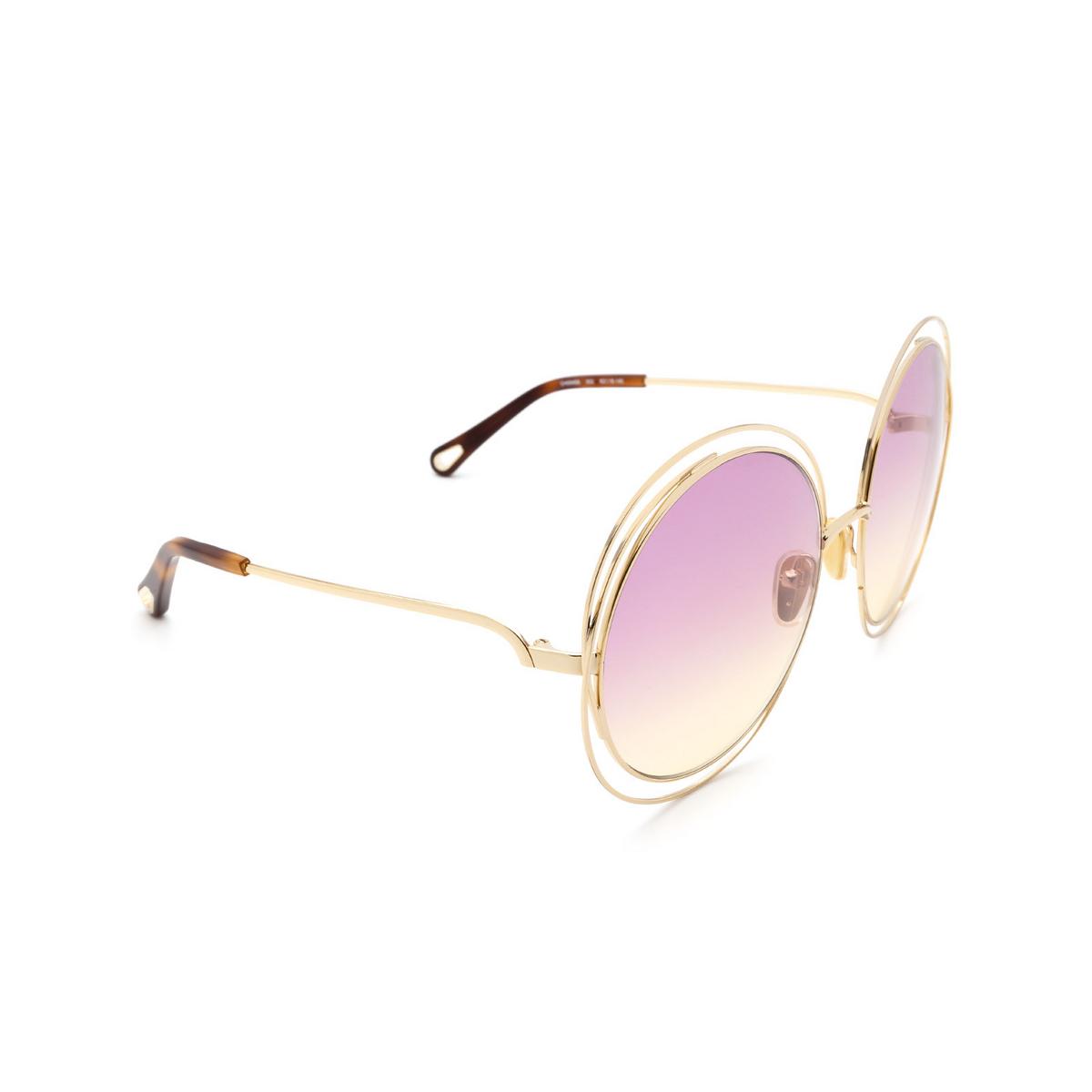 Chloé ® Round Sunglasses: CH0045S color Gold 002.