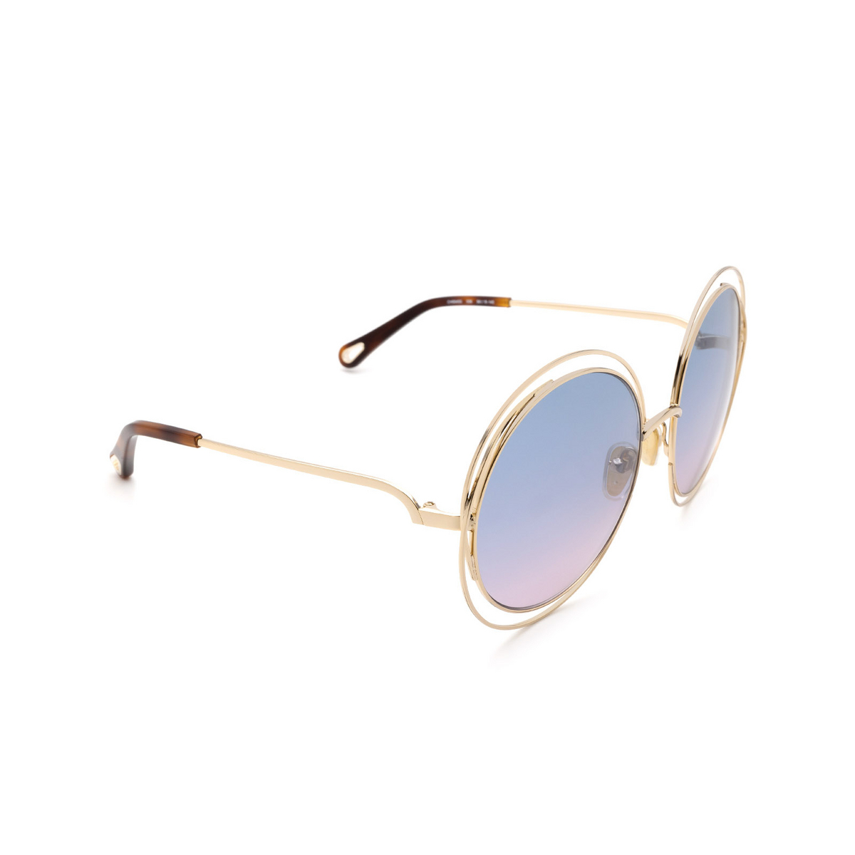 Chloé® Round Sunglasses: CH0045S color Gold 006 - three-quarters view.
