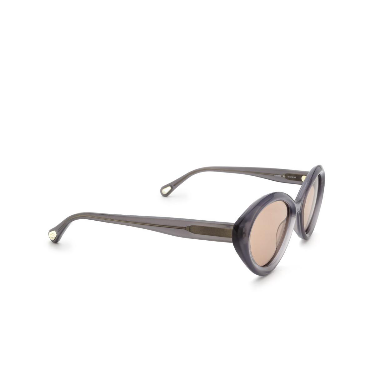 Chloé® Cat-eye Sunglasses: CH0050S color Grey 001 - three-quarters view.