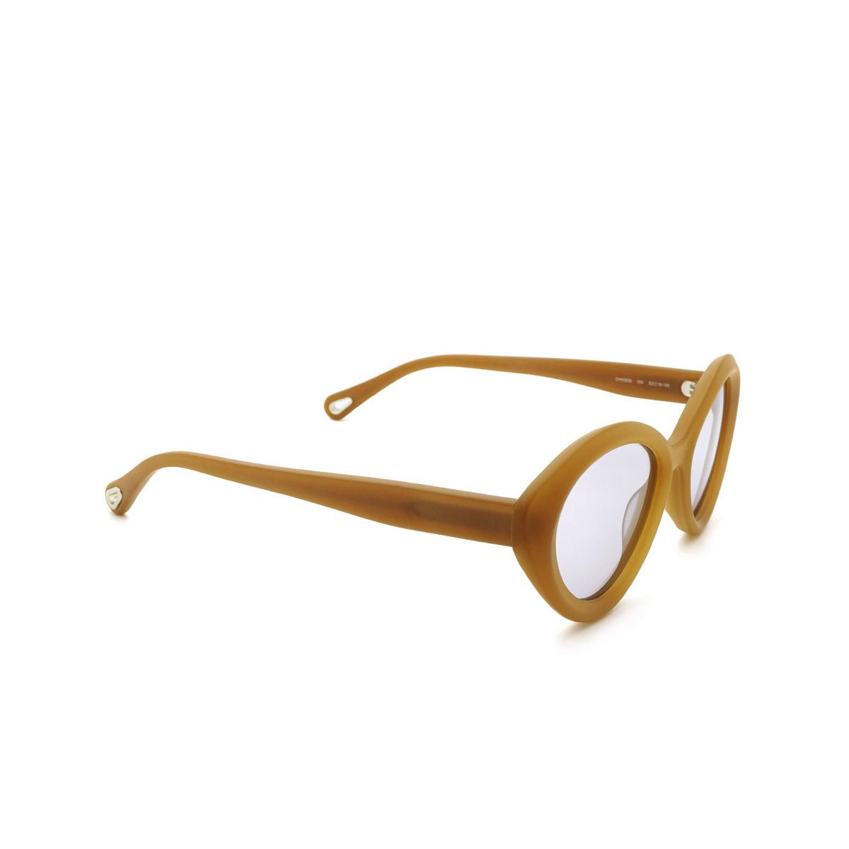 Chloé® Cat-eye Sunglasses: CH0050S color Orange 004 - three-quarters view.