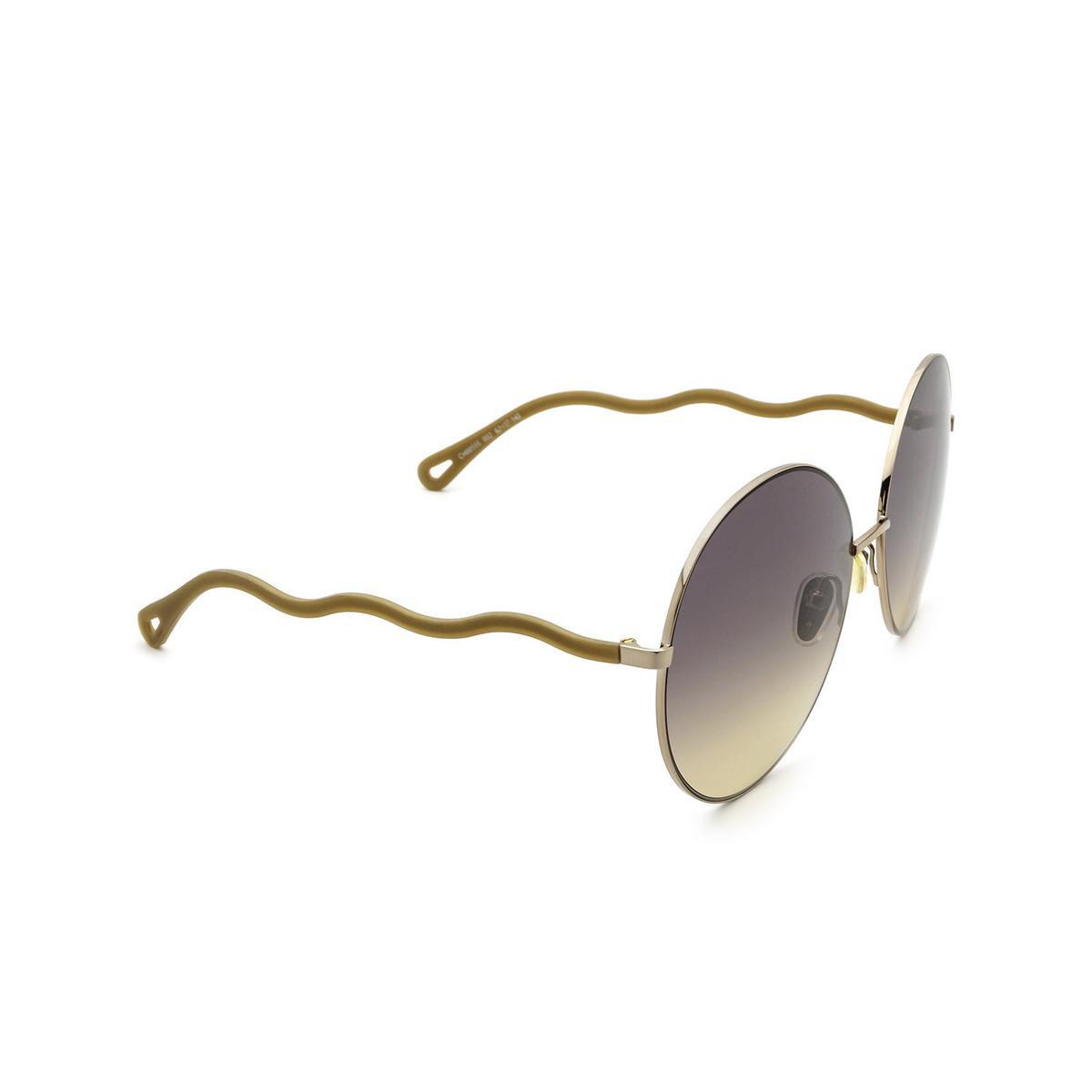 Chloé® Round Sunglasses: CH0055S color Beige 002 - three-quarters view.