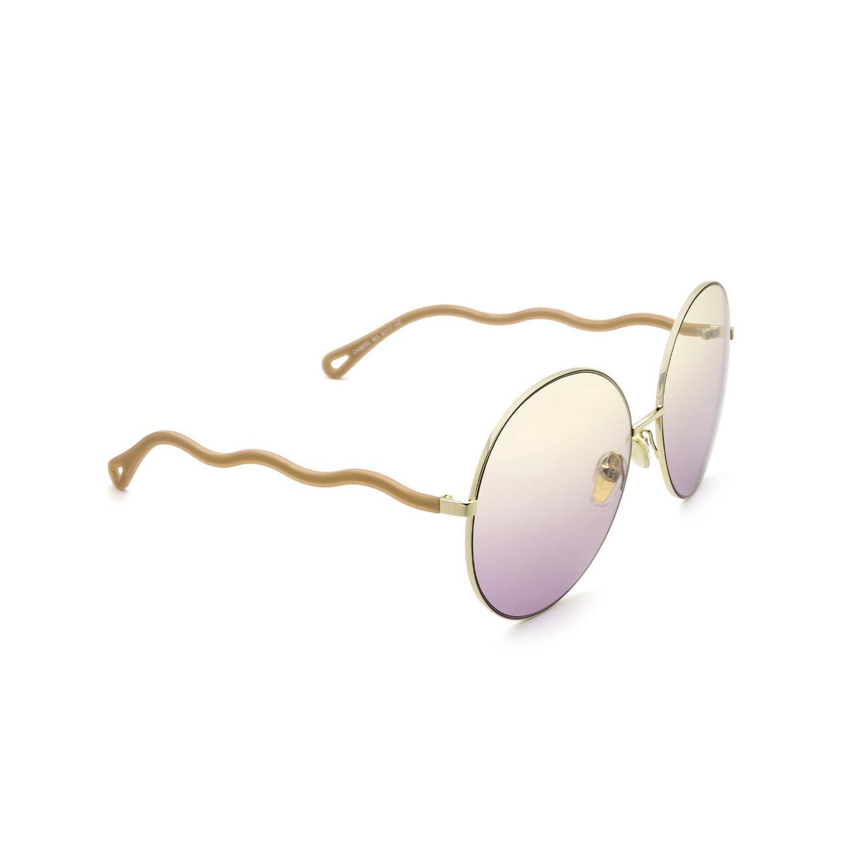 Chloé® Round Sunglasses: CH0055S color Gold 003 - three-quarters view.