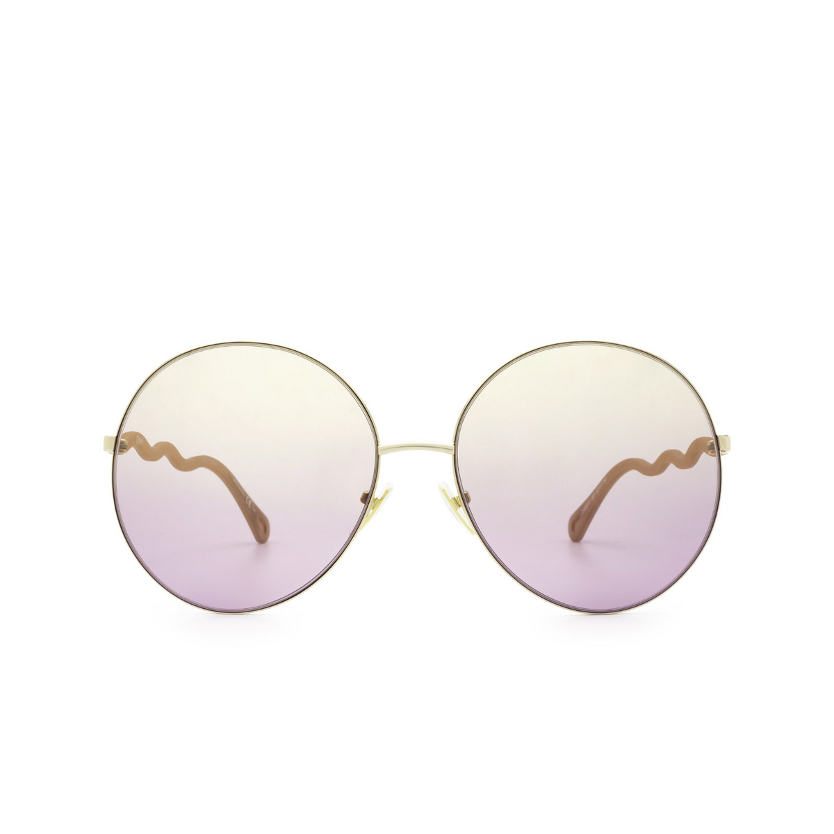 Chloé® Round Sunglasses: CH0055S color Gold 003 - front view.