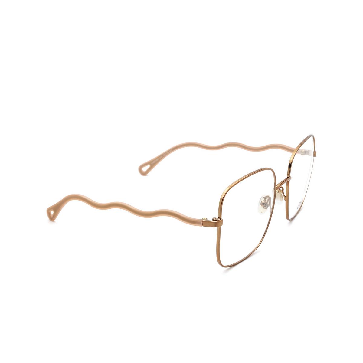Chloé® Square Eyeglasses: CH0056O color Pink 001 - three-quarters view.