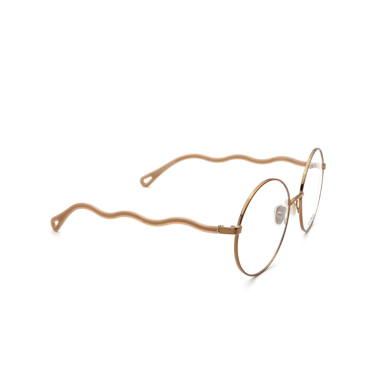 Chloé® Round Eyeglasses: CH0057O color Pink 001 - three-quarters view.