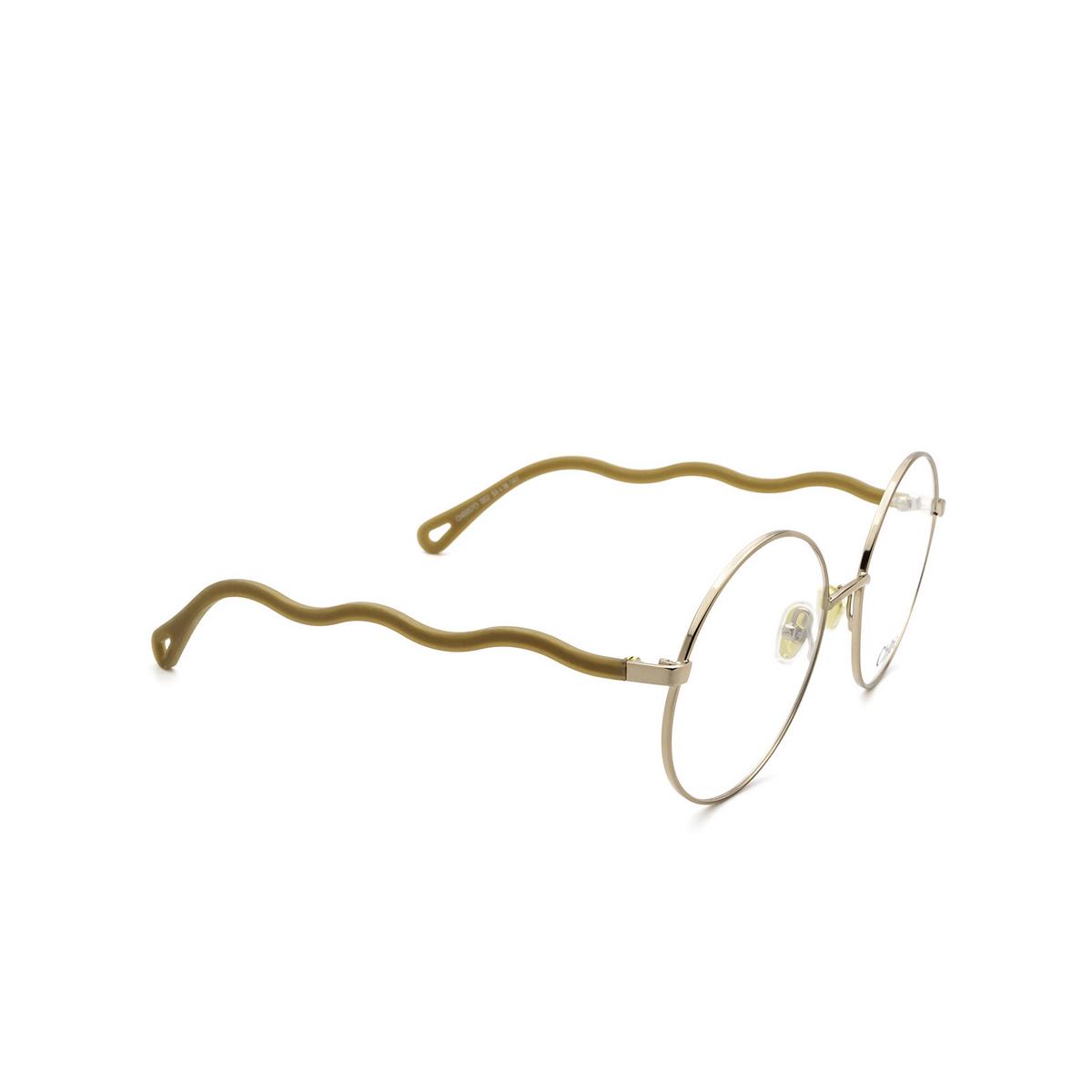 Chloé® Round Eyeglasses: CH0057O color Brown 002 - three-quarters view.