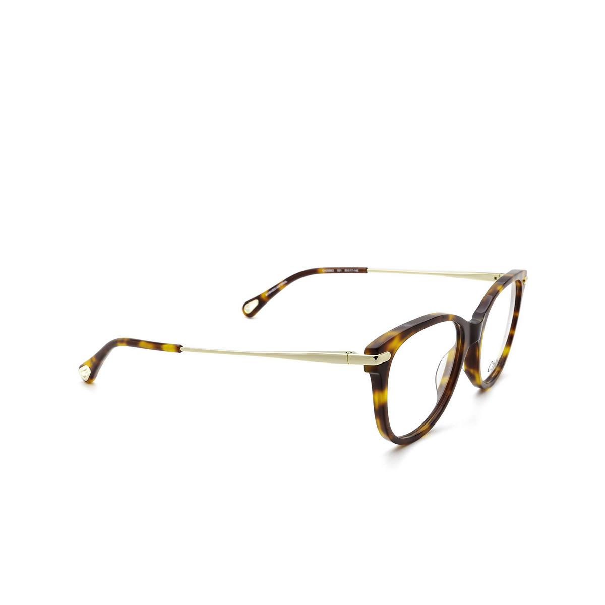 Chloé® Cat-eye Eyeglasses: CH0058O color Havana 001 - three-quarters view.