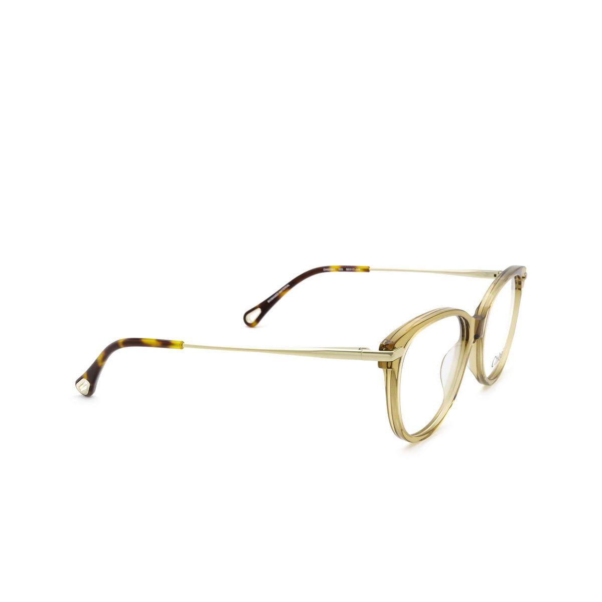 Chloé® Cat-eye Eyeglasses: CH0058O color Light Brown 003 - three-quarters view.