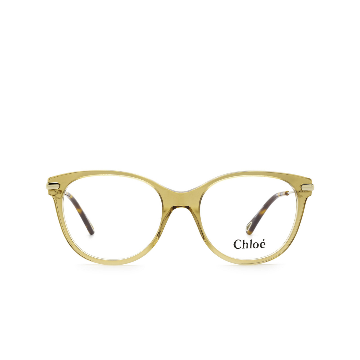 Chloé® Cat-eye Eyeglasses: CH0058O color Light Brown 003 - front view.