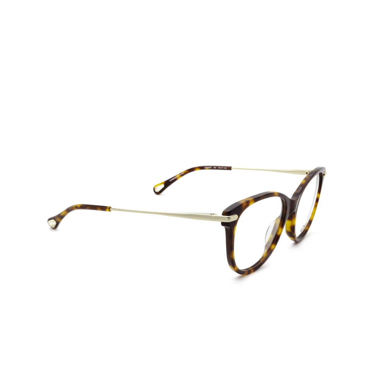 Chloé® Cat-eye Eyeglasses: CH0058O color Havana 005 - three-quarters view.