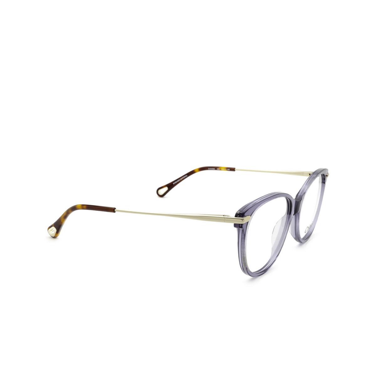 Chloé® Cat-eye Eyeglasses: CH0058O color Blue 008 - three-quarters view.