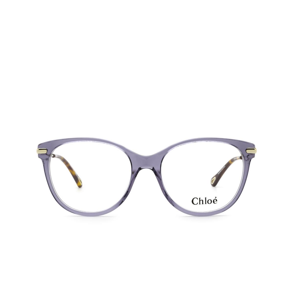 Chloé® Cat-eye Eyeglasses: CH0058O color Blue 008 - front view.