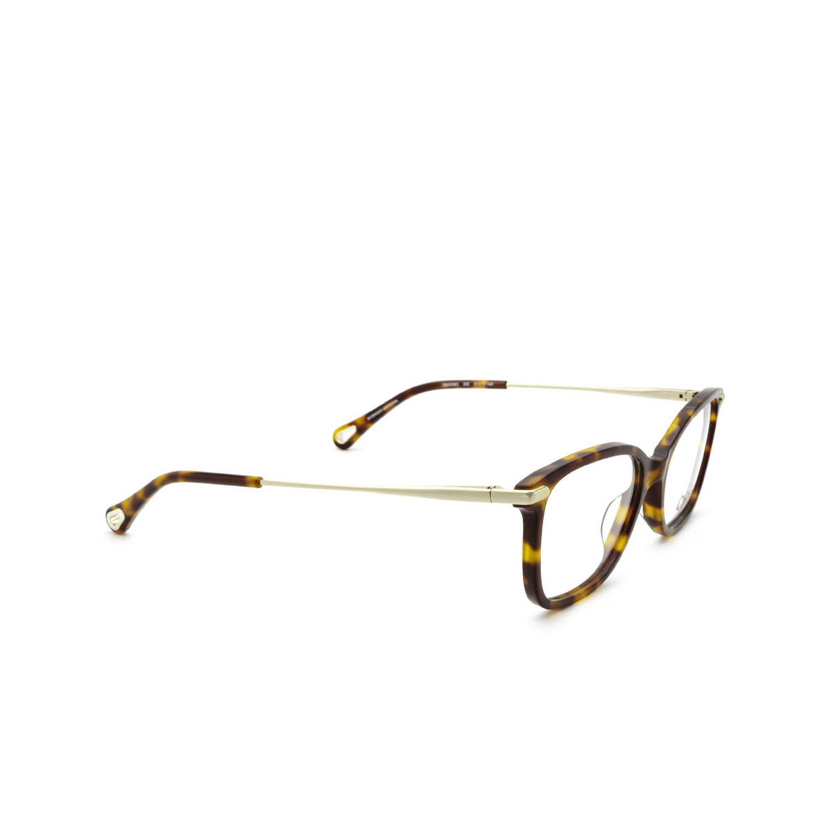 Chloé® Rectangle Eyeglasses: CH0059O color Havana 005 - three-quarters view.