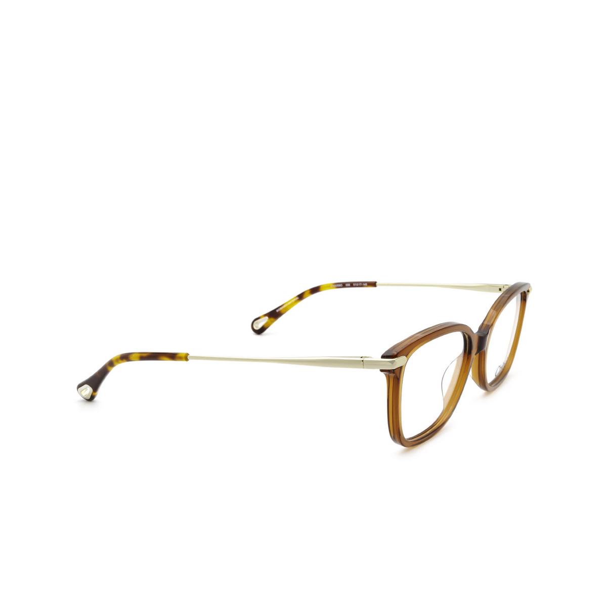 Chloé® Rectangle Eyeglasses: CH0059O color Orange 006 - three-quarters view.