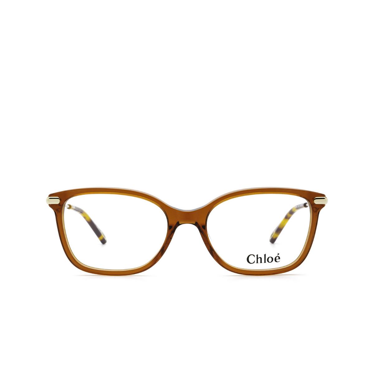 Chloé® Rectangle Eyeglasses: CH0059O color Orange 006 - front view.