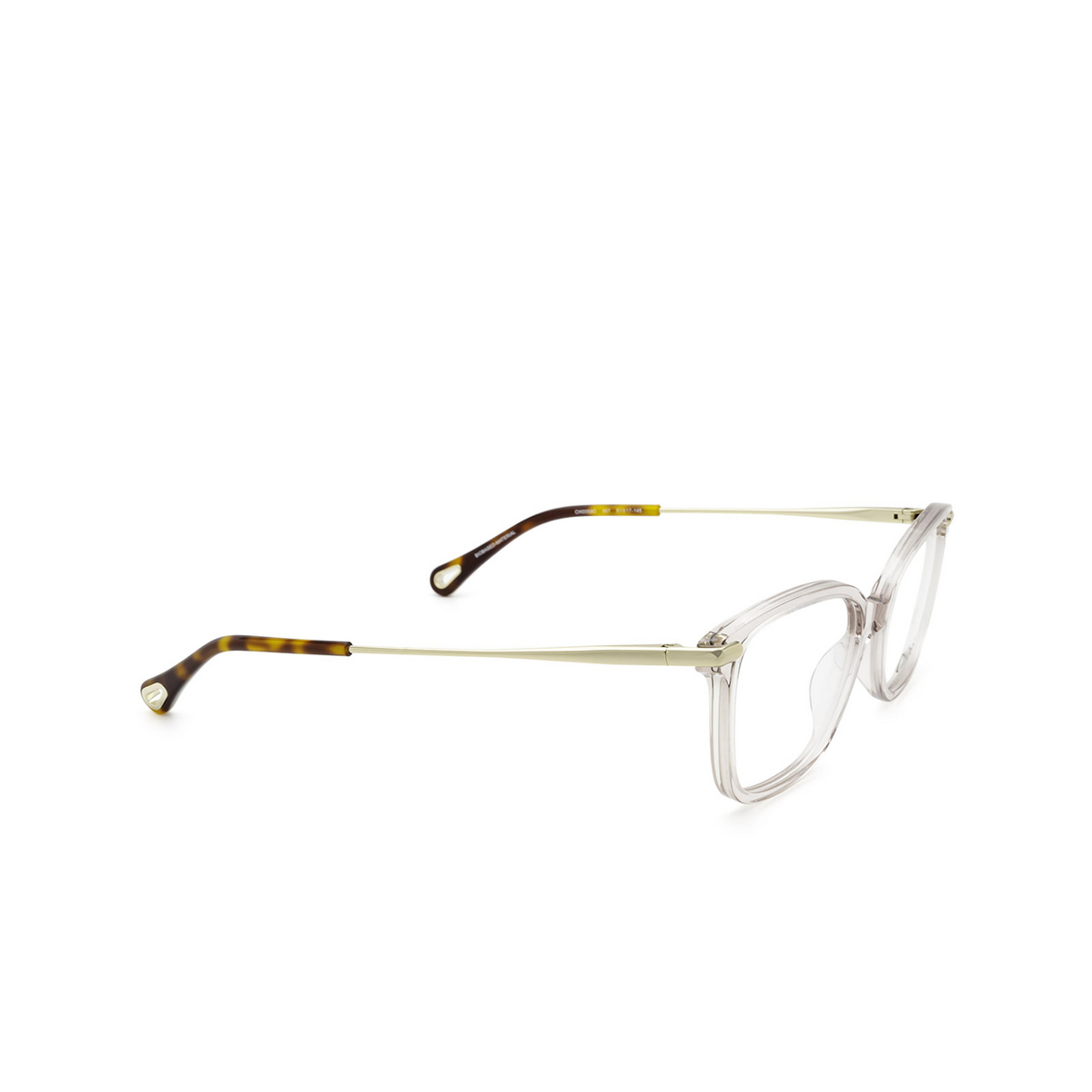 Chloé® Rectangle Eyeglasses: CH0059O color Pink 007 - three-quarters view.