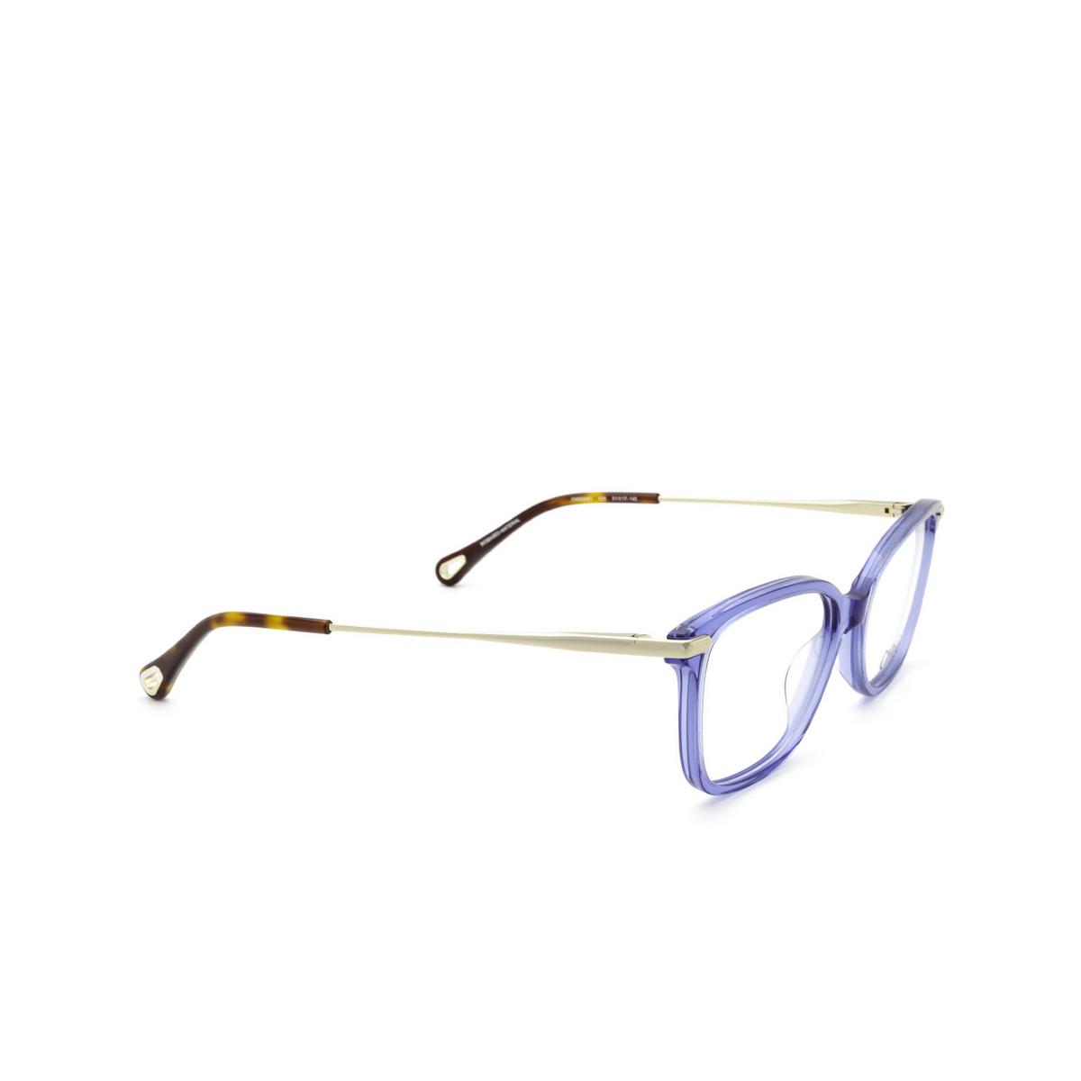 Chloé® Rectangle Eyeglasses: CH0059O color Blue 008 - three-quarters view.