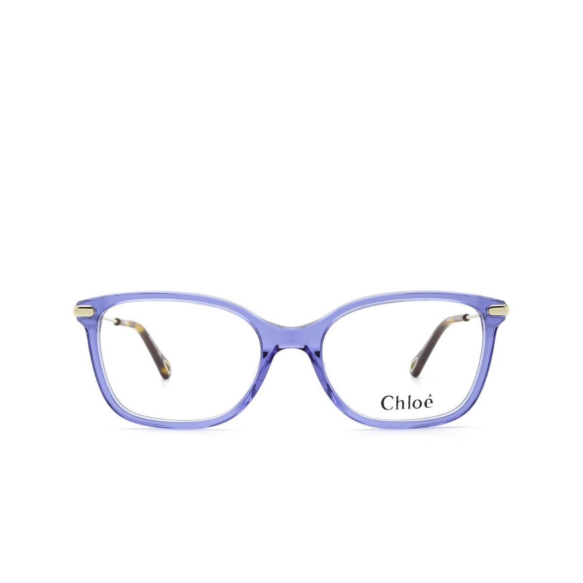 Chloé® Rectangle Eyeglasses: CH0059O color Blue 008 - front view.
