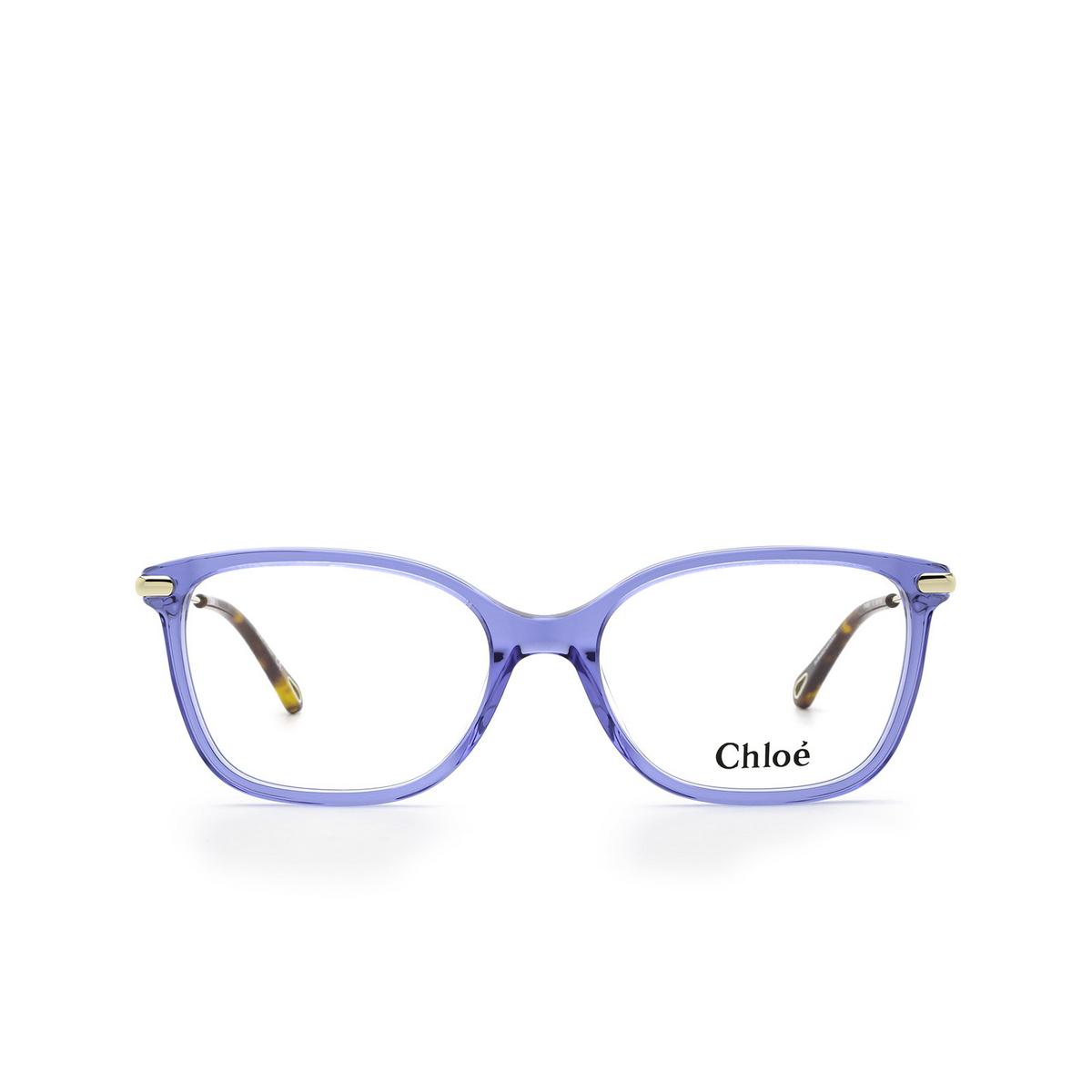 Chloé® Rectangle Eyeglasses: CH0059O color Blue 012 - front view.