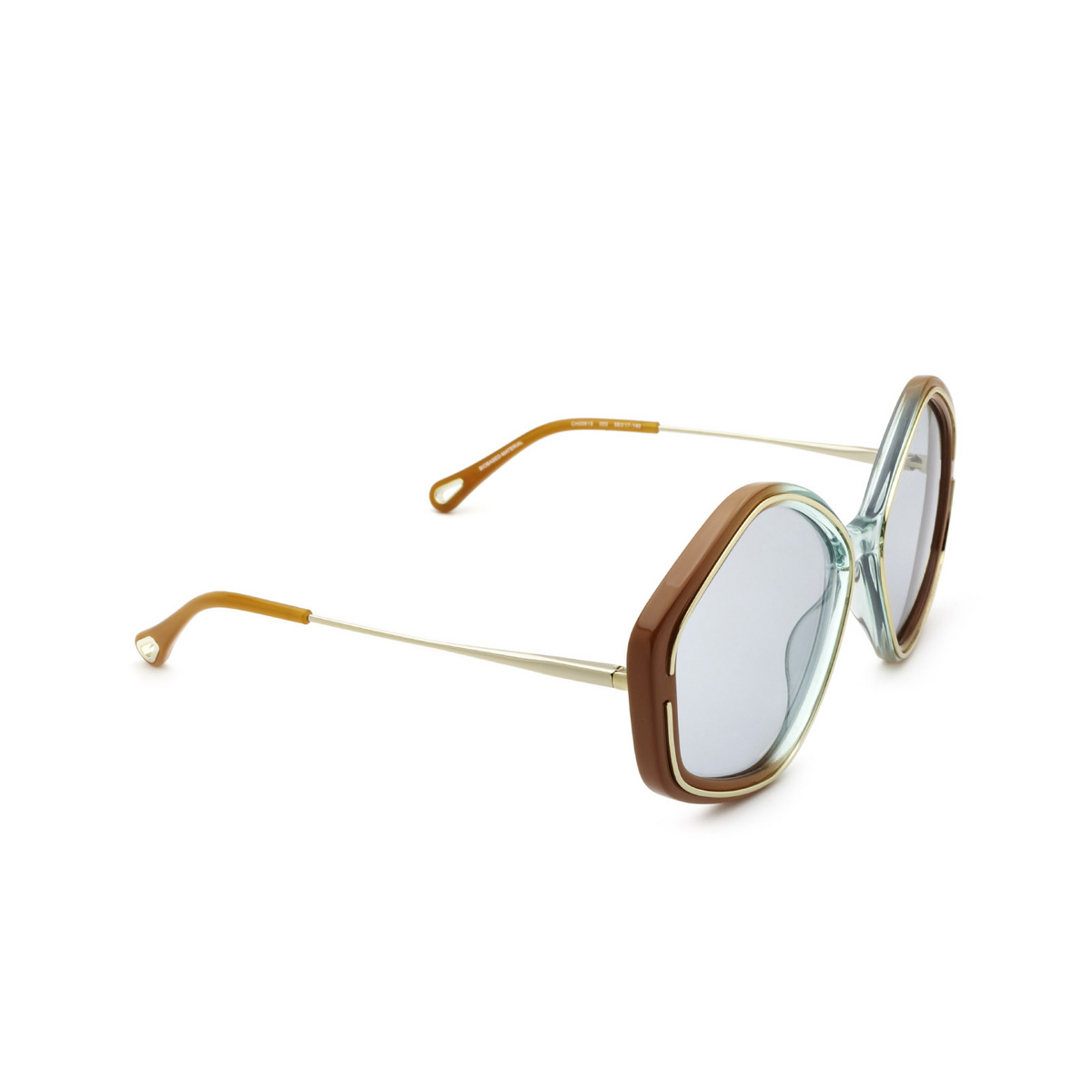 Chloé® Irregular Sunglasses: CH0061S color Brown 003 - three-quarters view.