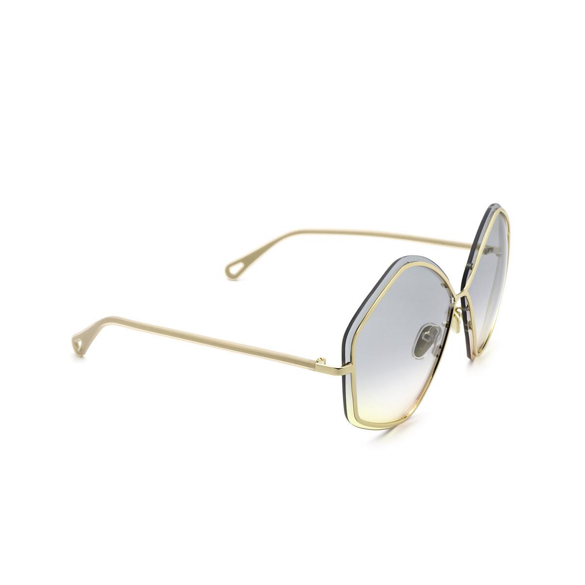 Chloé® Irregular Sunglasses: CH0065S color Gold 001 - three-quarters view.