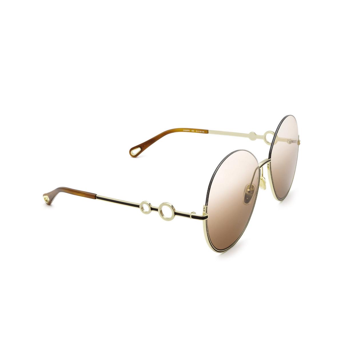 Chloé® Round Sunglasses: CH0067S color Gold 002 - three-quarters view.
