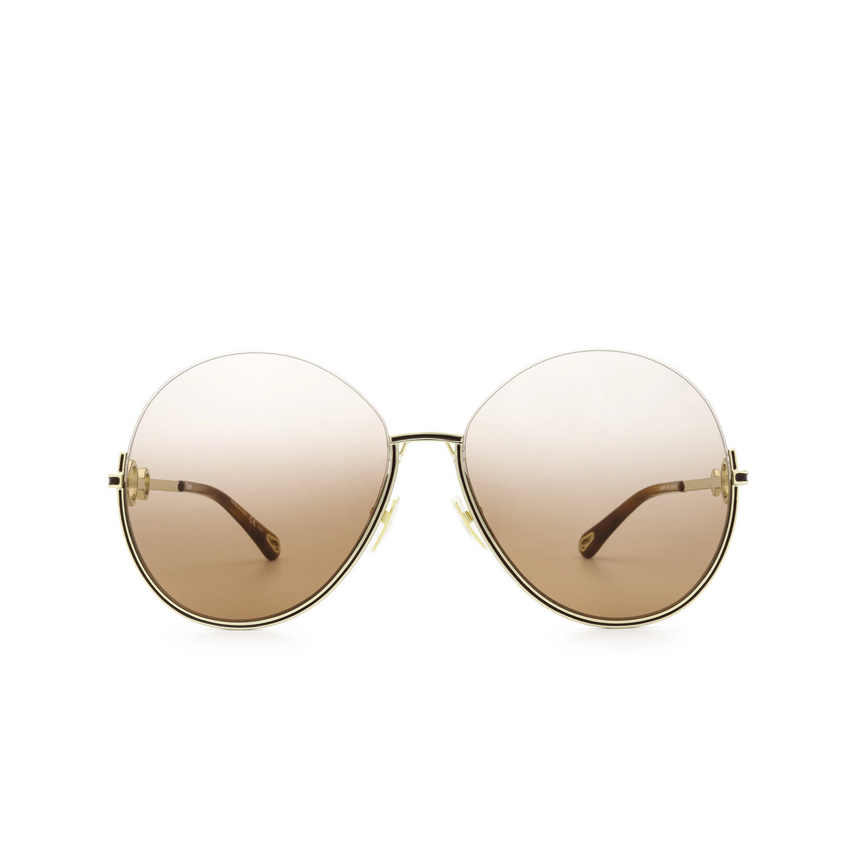 Chloé® Round Sunglasses: CH0067S color Gold 002 - front view.