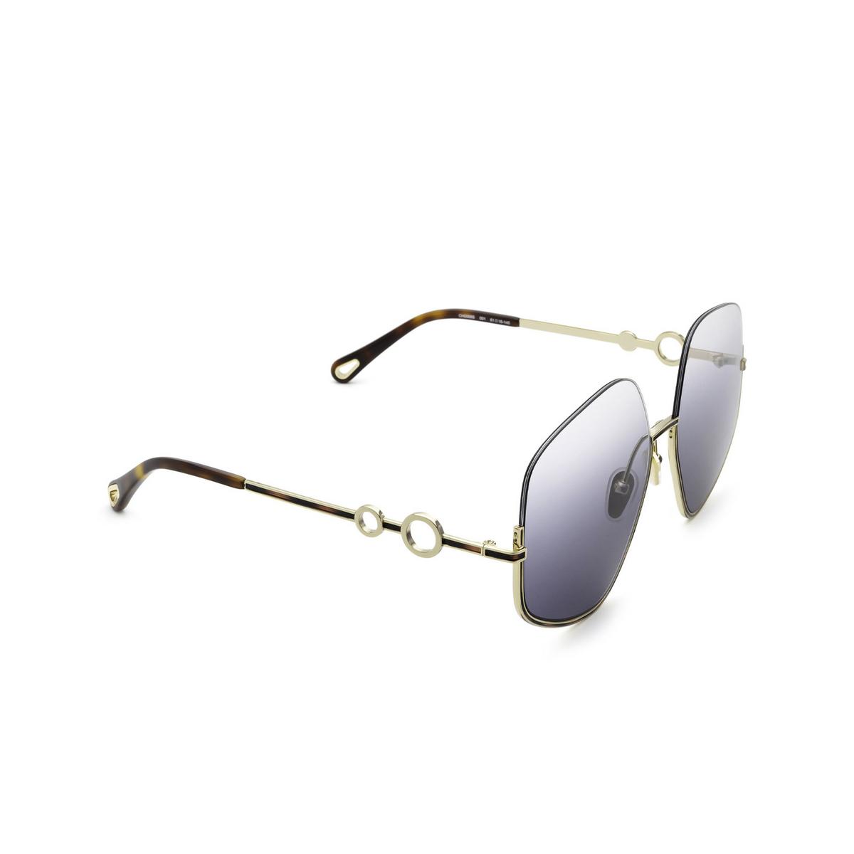 Chloé® Irregular Sunglasses: CH0068S color Gold 001 - three-quarters view.