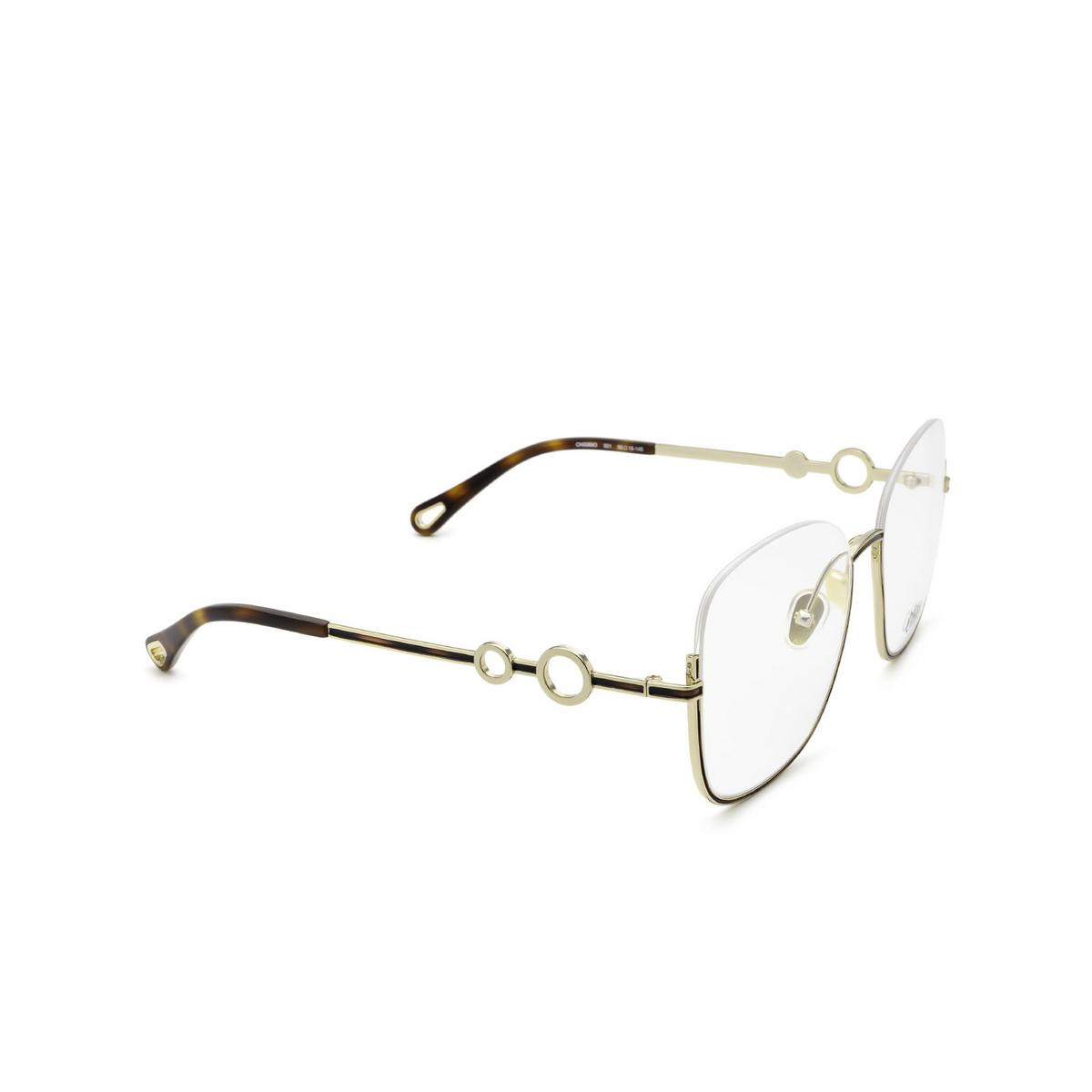 Chloé® Square Eyeglasses: CH0069O color Gold 001 - three-quarters view.