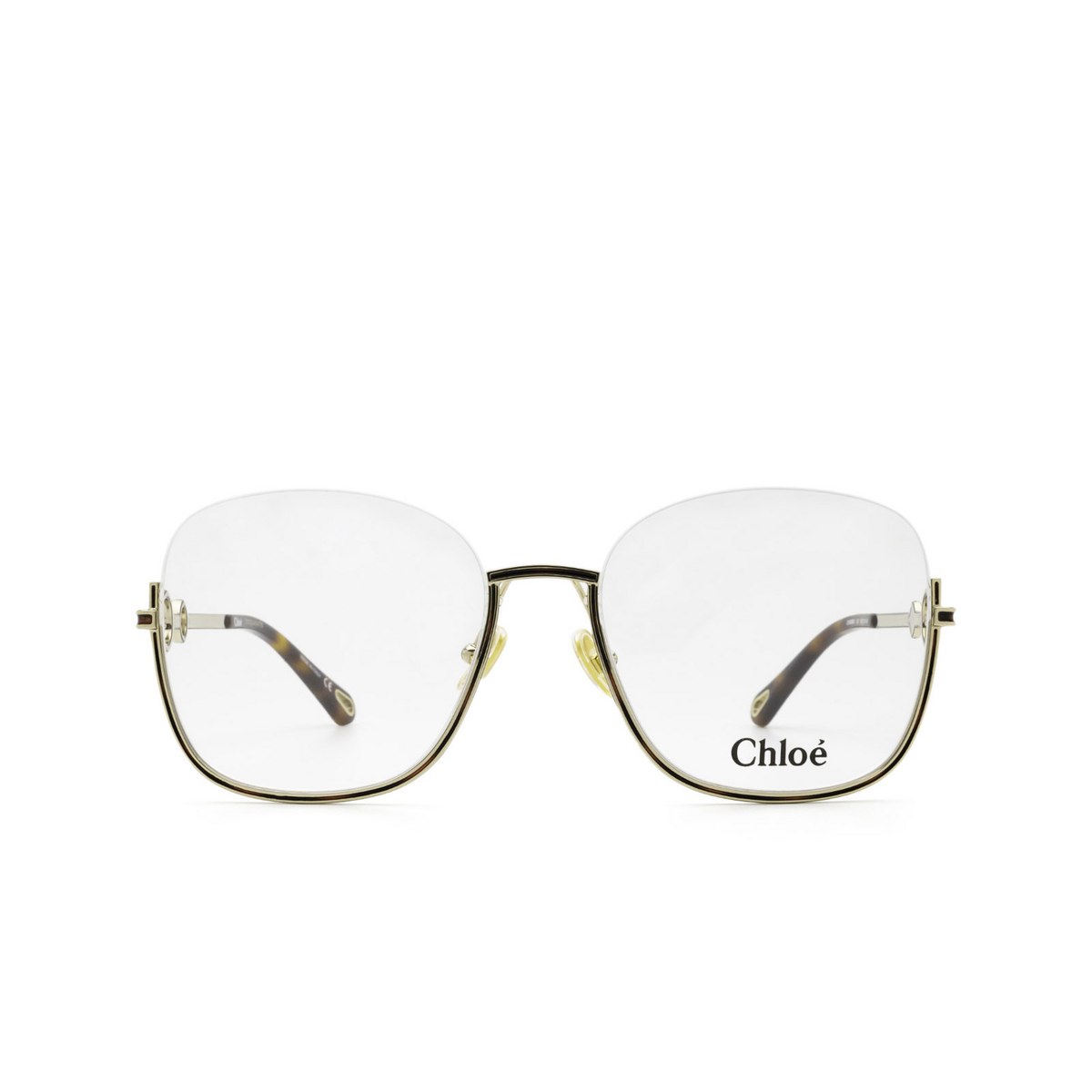 Chloé® Square Eyeglasses: CH0069O color Gold 001 - front view.
