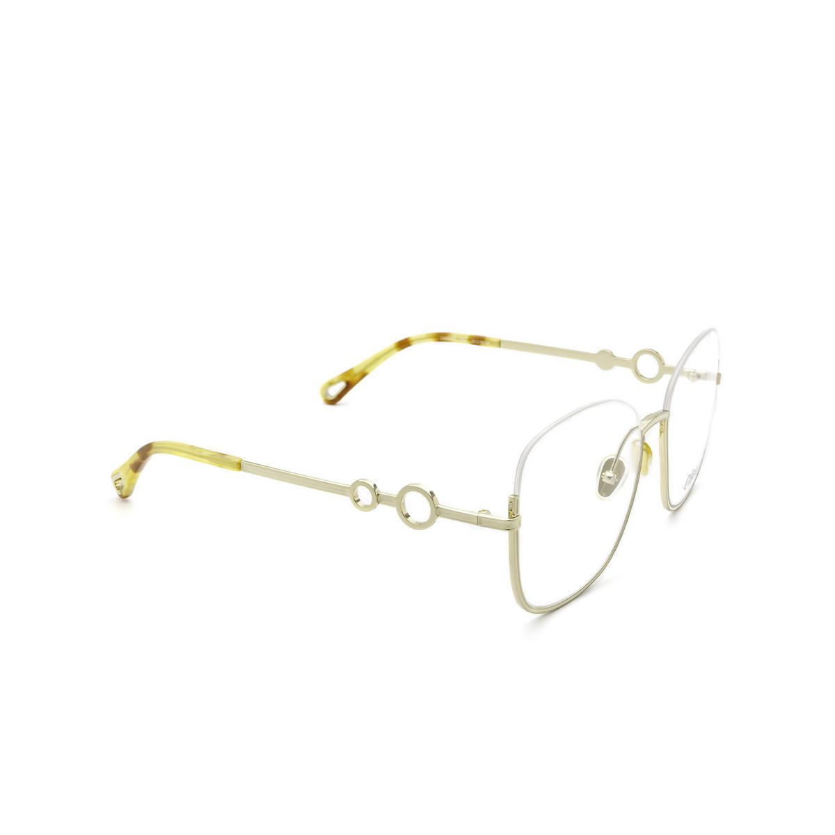 Chloé® Square Eyeglasses: CH0069O color Gold 004 - three-quarters view.
