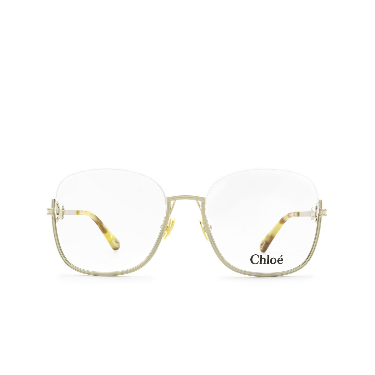 Chloé® Square Eyeglasses: CH0069O color Gold 004 - front view.