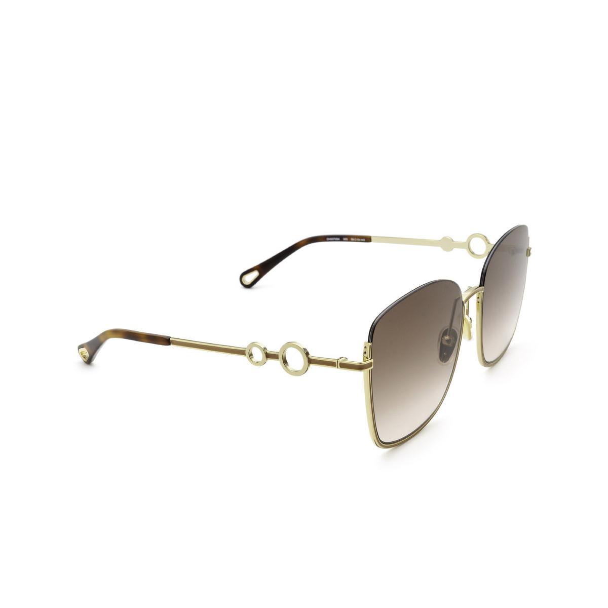 Chloé® Square Sunglasses: CH0070SK color Gold 003 - three-quarters view.