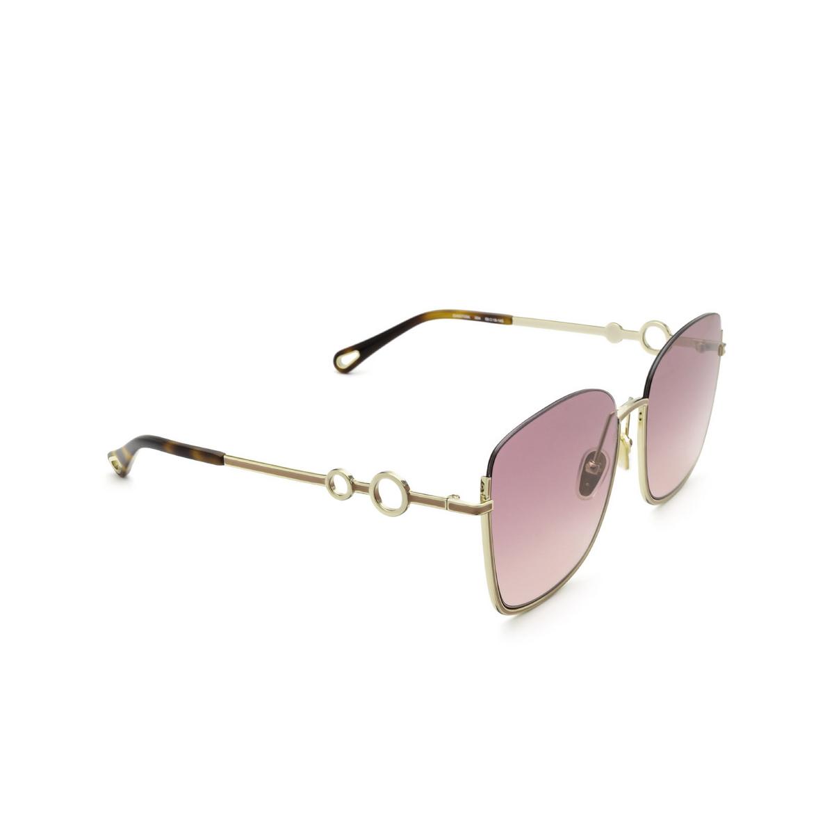 Chloé® Square Sunglasses: CH0070SK color Gold 004 - three-quarters view.