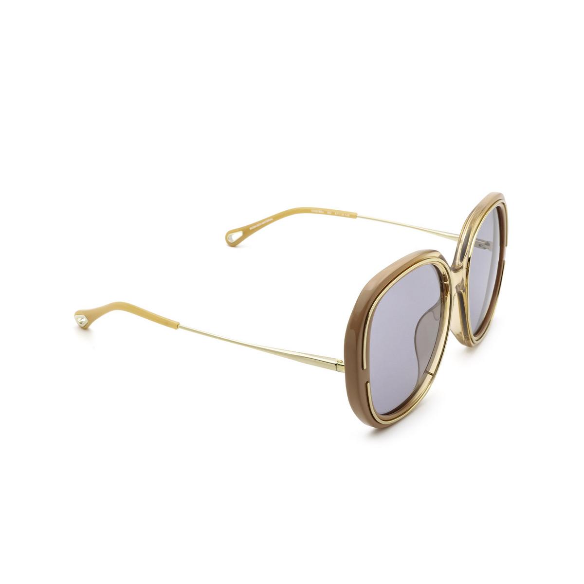 Chloé® Square Sunglasses: CH0078SA color Nude 002 - three-quarters view.