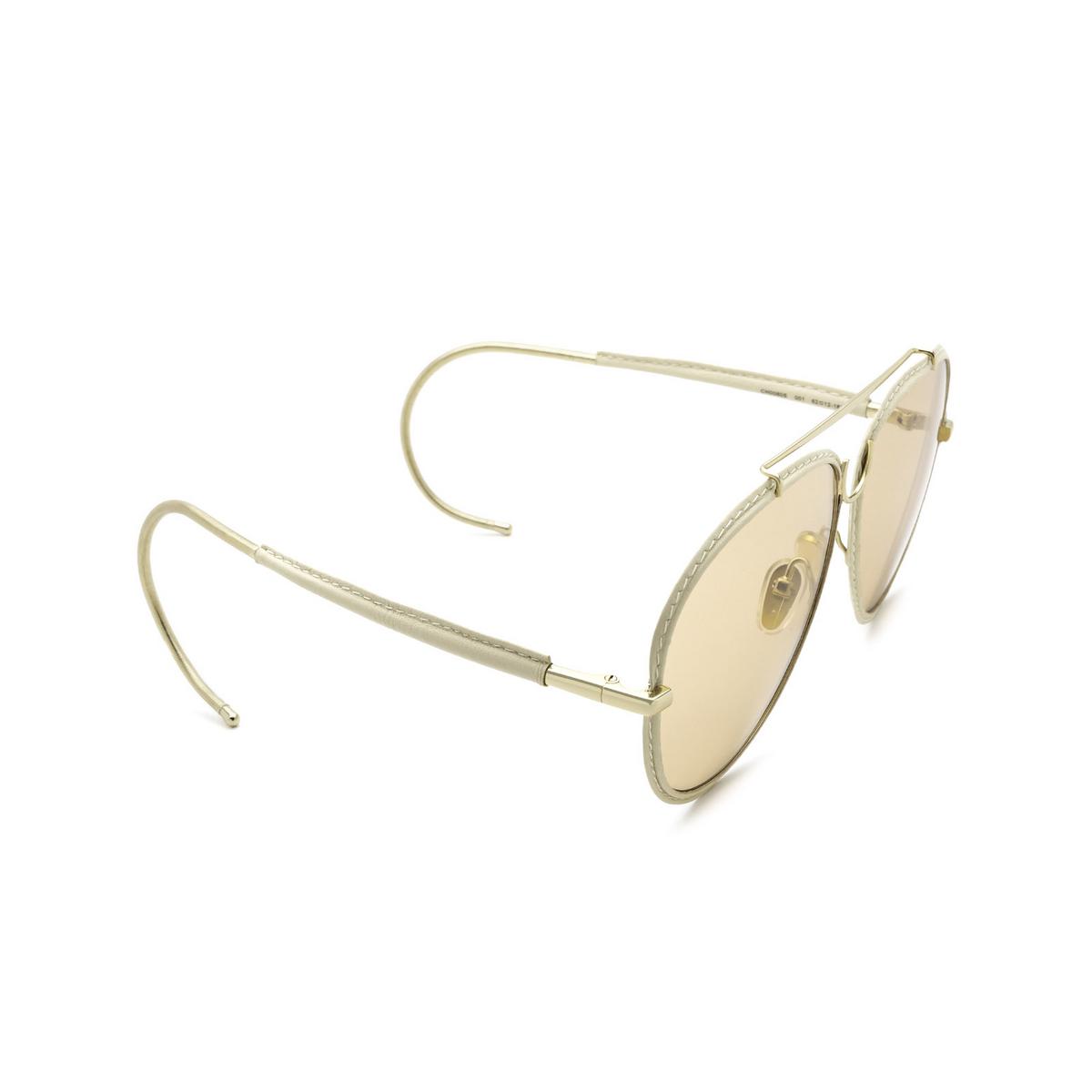 Chloé® Aviator Sunglasses: CH0080S color Gold 001 - three-quarters view.