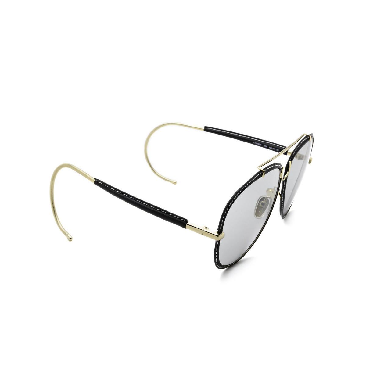 Chloé® Aviator Sunglasses: CH0080S color Gold 003 - three-quarters view.