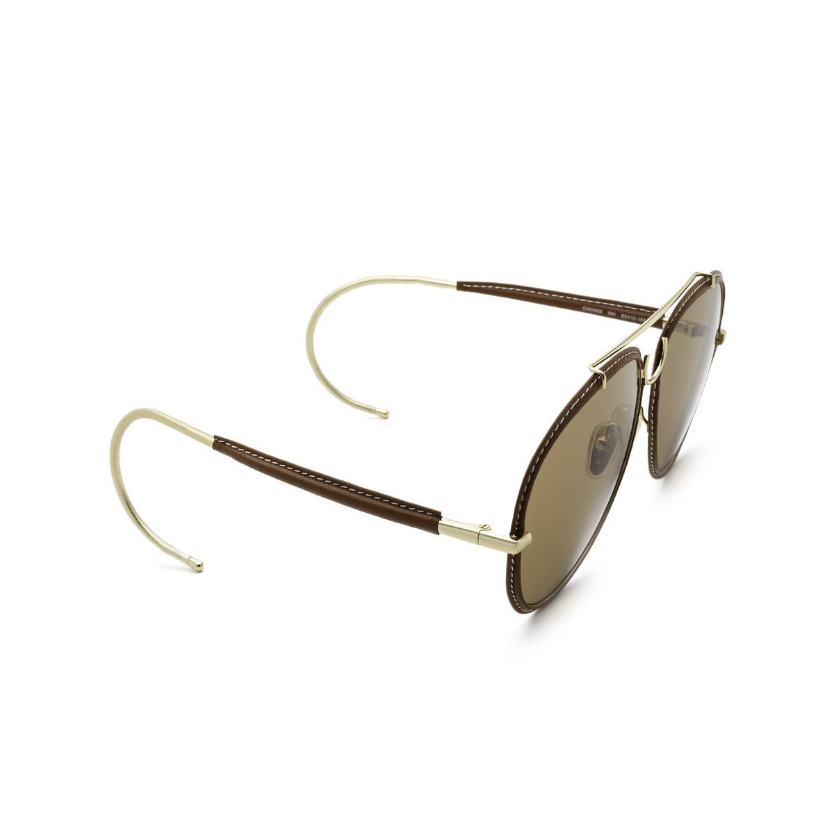 Chloé® Aviator Sunglasses: CH0080S color Gold 004 - three-quarters view.
