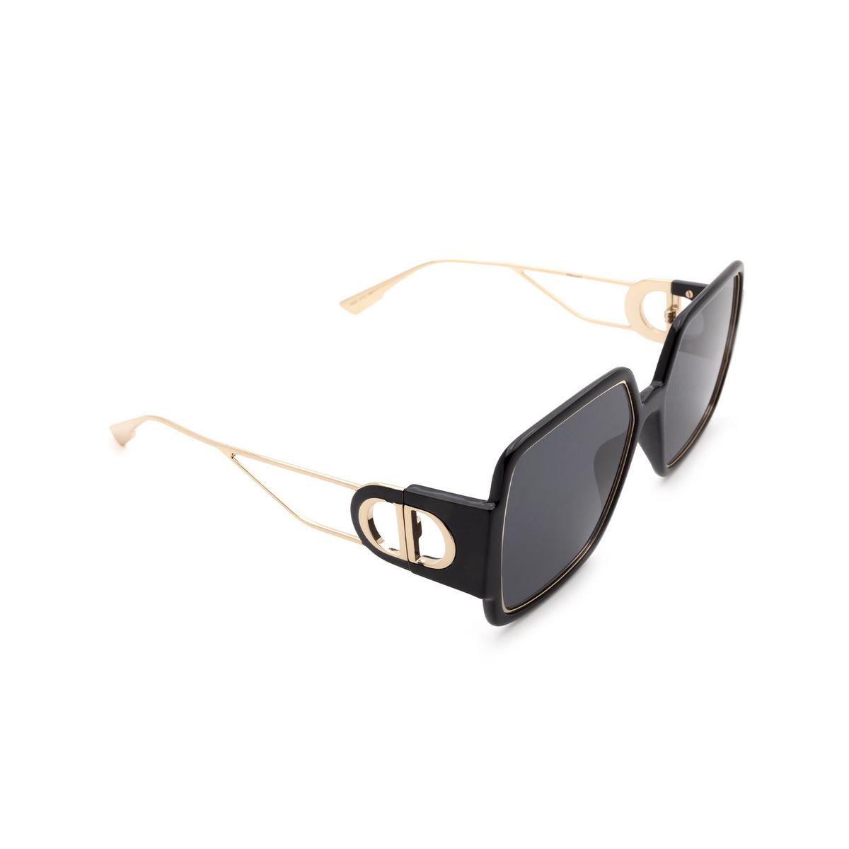 Dior® Square Sunglasses: 30MONTAIGNE2 color Black Gold 2M2/2K - three-quarters view.