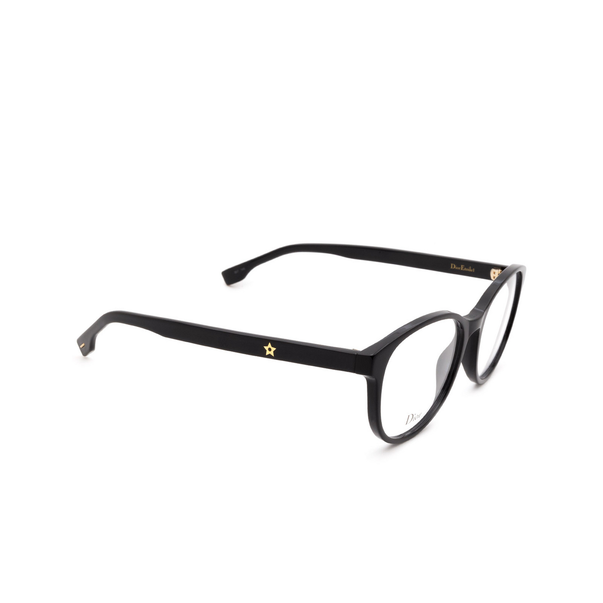 Dior® Butterfly Eyeglasses: DIORETOILE1 color Black 807 - three-quarters view.