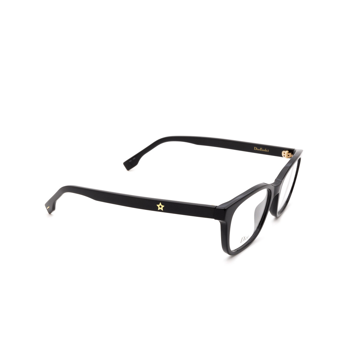 Dior® Butterfly Eyeglasses: DIORETOILE2 color Black 807 - three-quarters view.