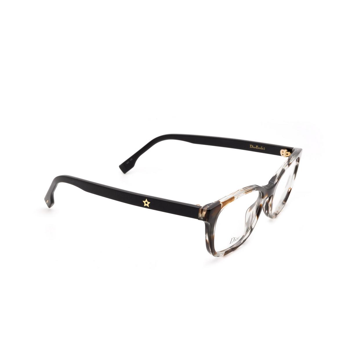 Dior® Butterfly Eyeglasses: DIORETOILE2 color Grey Havana Aci - three-quarters view.