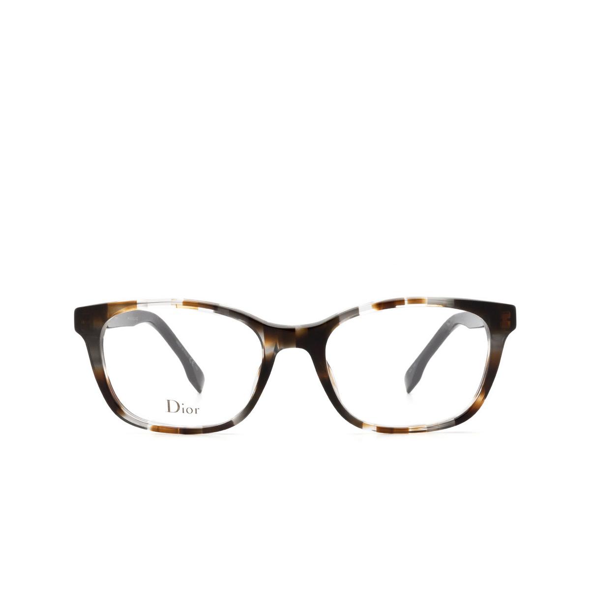 Dior® Butterfly Eyeglasses: DIORETOILE2 color Grey Havana Aci - front view.